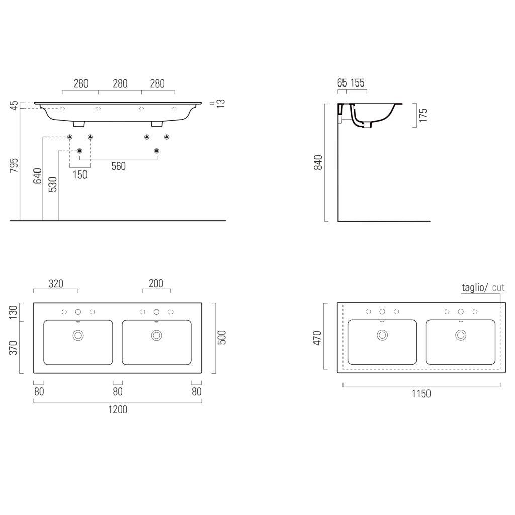 GSI - PURA keramické dvojumývadlo Slim 120x50 cm, biela ExtraGlaze (8845111)