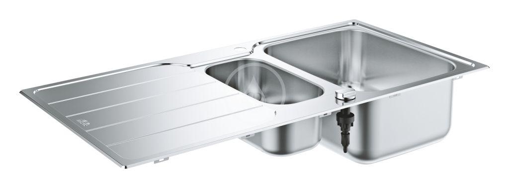 GROHE - Dřezy Drez K500 s automatickým odtokom, 1000x500 mm, kefovaná nerezová (31572SD1)