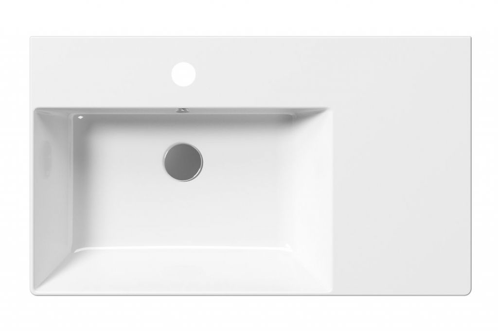 GSI - KUBE X keramické umývadlo 80x47 cm, s odkladacou plochou vpravo, biela ExtraGlaze (9456111)