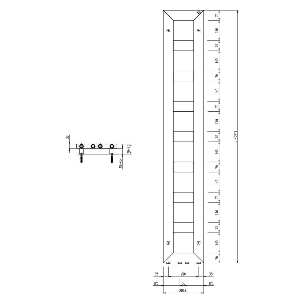 SAPHO - BLOCK vykurovacie teleso 280x1750 mm, čierna matná (IR182)