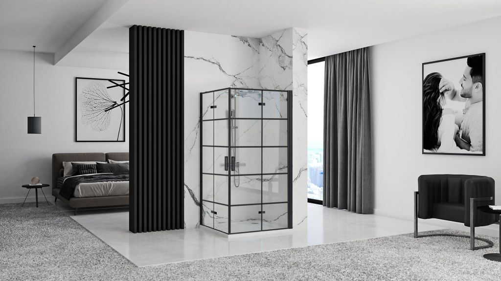 REA/S - Sprchovací kút Moliere dvere / dvere 80x80 BLACK (MOLDD080080B)