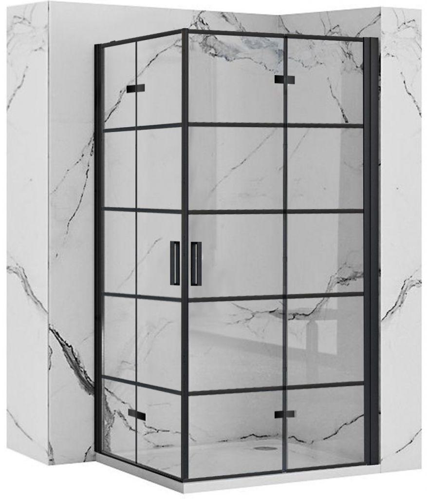 REA/S - Sprchovací kút Moliere dvere / dvere 80x90 BLACK MOLDD080090B
