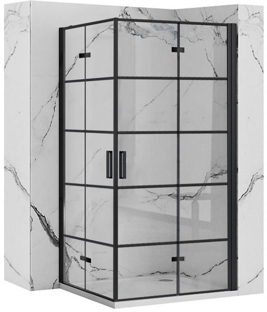 REA/S - Sprchovací kút Moliere dvere / dvere 90x90 BLACK MOLDD090090B