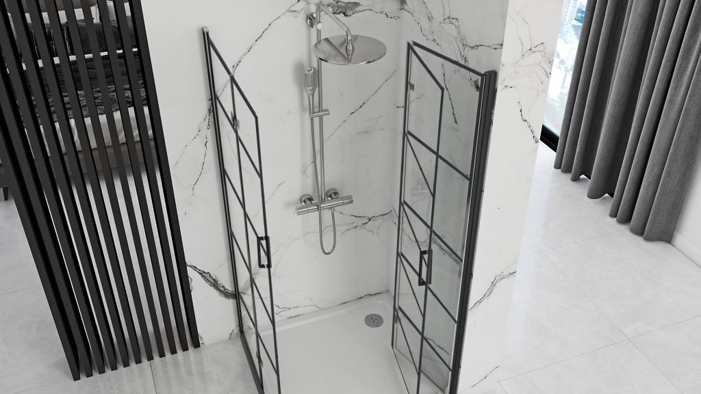 REA/S - Sprchovací kút Moliere dvere / dvere 90x90 BLACK (MOLDD090090B)