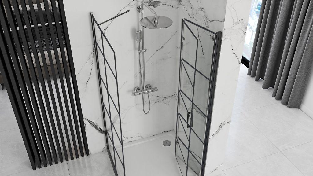 REA/S - Sprchovací kút Moliere dvere / stena 80x80 BLACK (MOLDS080080B)