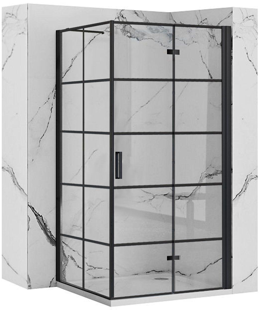 REA/S - Sprchovací kút Moliere dvere / stena 90x90 BLACK MOLDS090090B