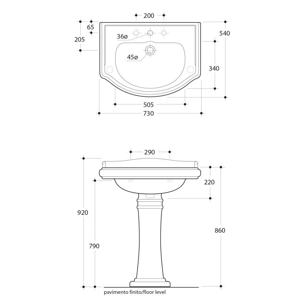 KERASAN - RETRO keramické umývadlo 73x54cm (104701)