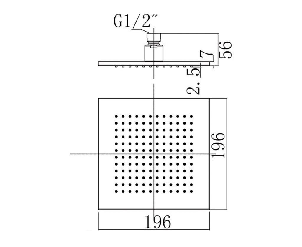 SAPHO - Hlavová sprcha, 200x200mm, chróm (1203-01)