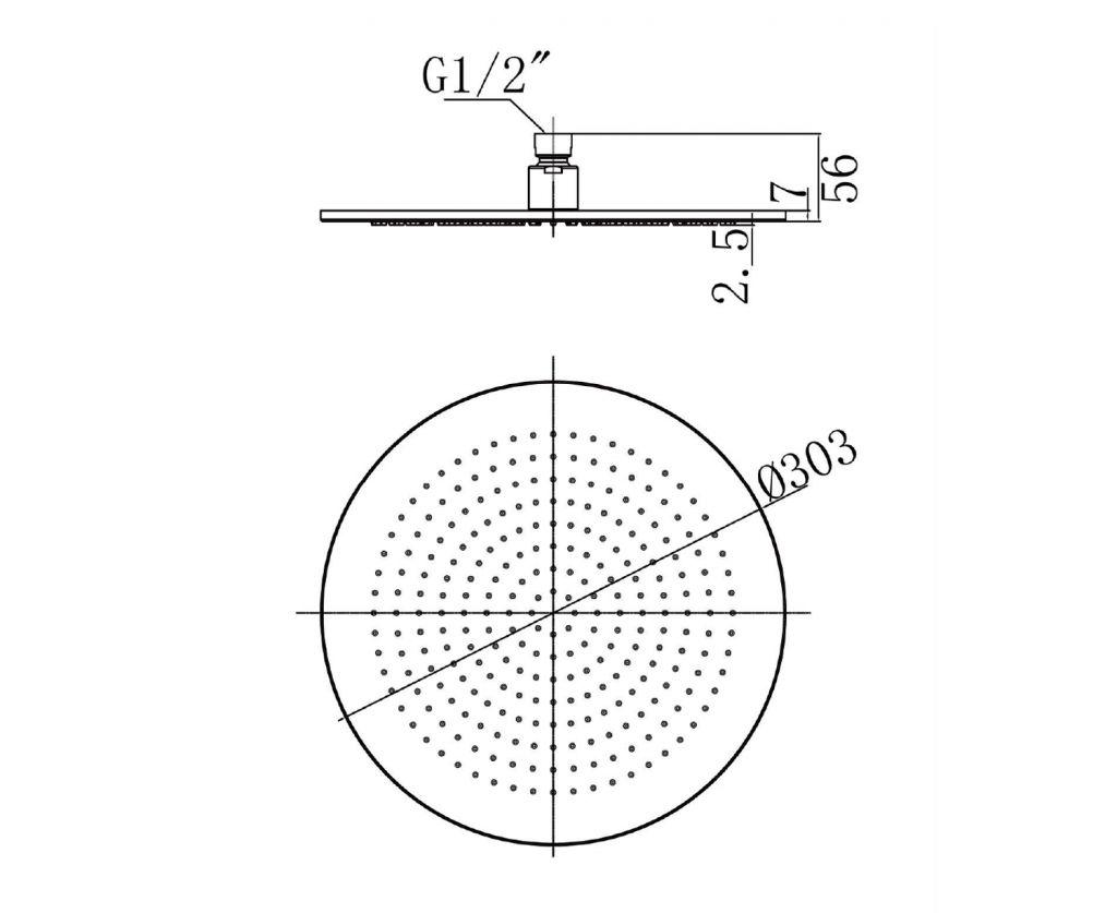 SAPHO - Hlavová sprcha, priemer 300mm, chróm (1203-03)