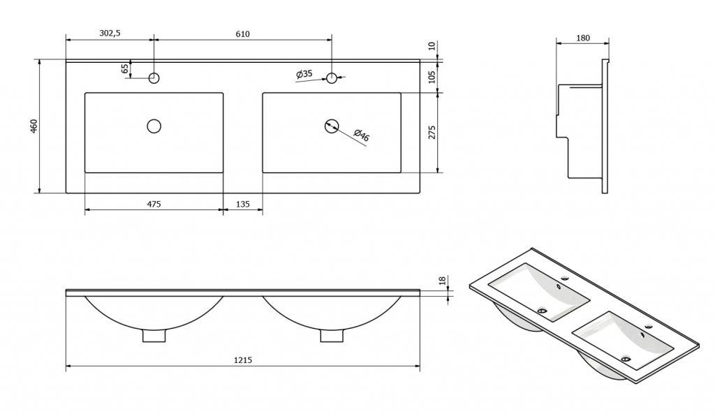 SAPHO - SLIM keramické dvojumývadlo 120x46cm, nábytkové (1601-120)