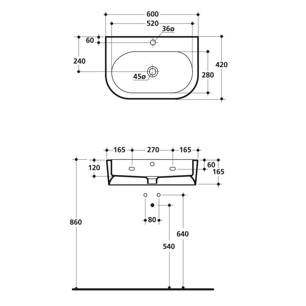 KERASAN - FLO keramické umývadlo 60x42cm (314201)