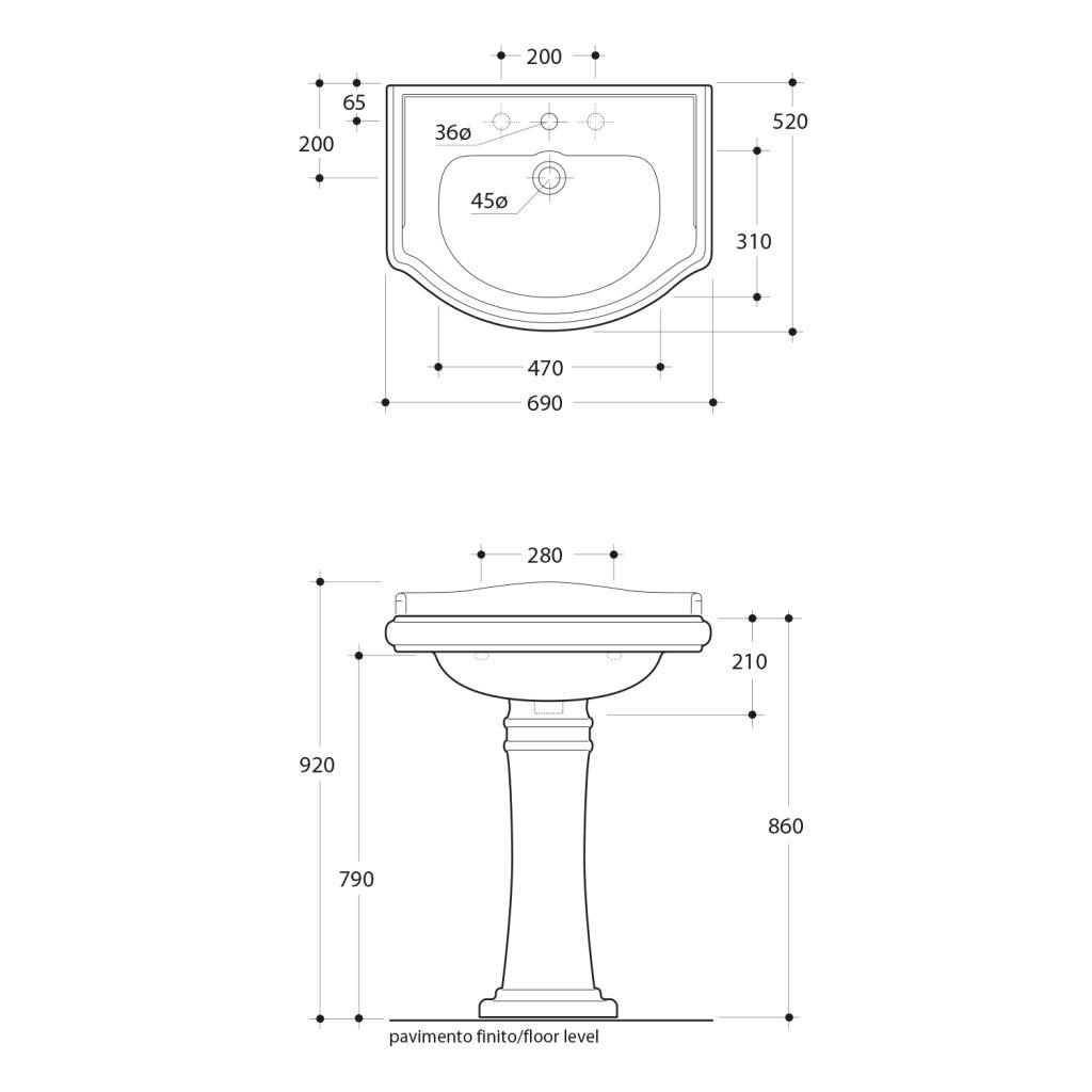 KERASAN - RETRO keramické umývadlo 69x52cm, 3 otvory pre batériu (104601-3)