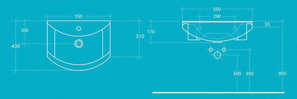 AQUALINE - ZERO nábytkové umývadlo 55x43,5cm (6055)