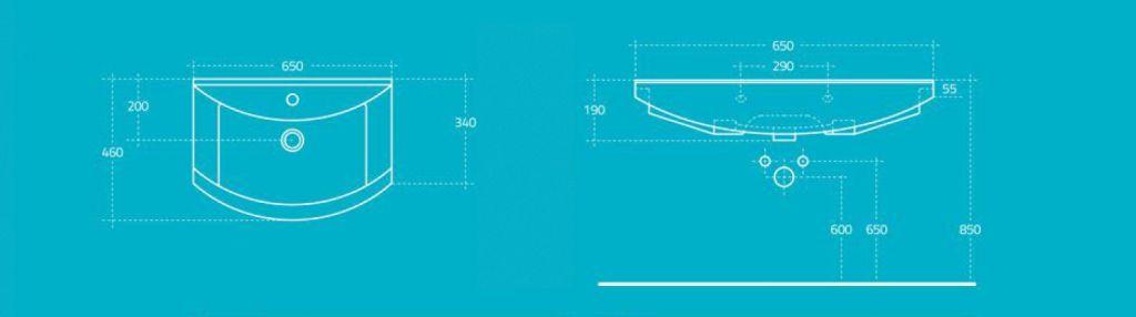 AQUALINE - ZERO nábytkové umývadlo 65x46cm (6065)