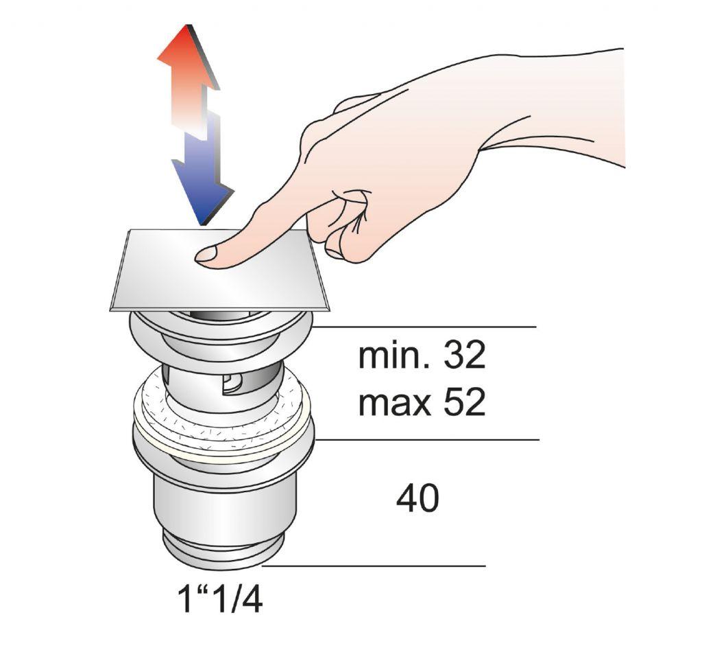 Omp Tea - Uzatvárateľná hranatá výpusť pre umývadla s prepadom Click Clack, V 32-52mm, chr (8540.360.5)