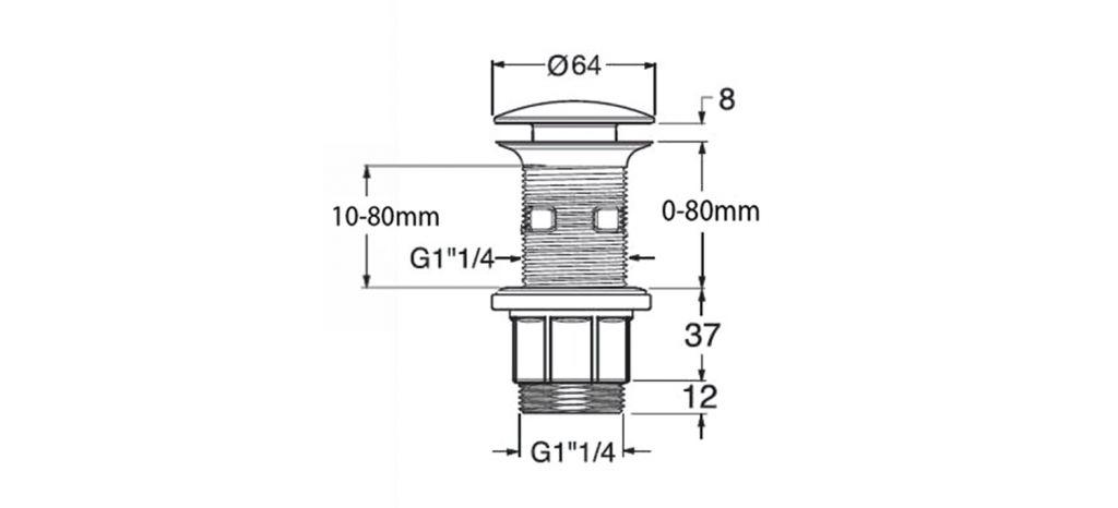 SILFRA - Uzatvárateľná guľatá výpusť pre umývadla s prepadom Click Clack, V 10-80mm, chró (WA43451)