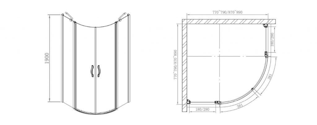 GELCO - ONE štvrťkruhová sprchová zástena 800x800 mm, číre sklo (GO5880)