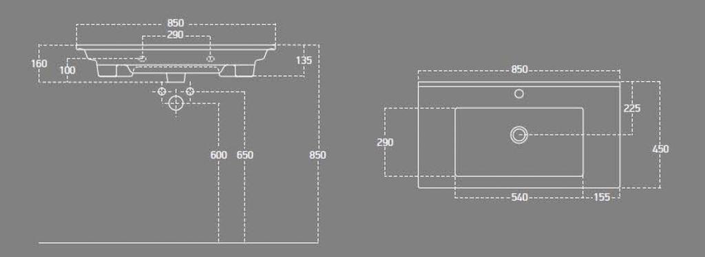 AQUALINE - ZUNO 85 nábytkové umývadlo 85x45cm (9085)