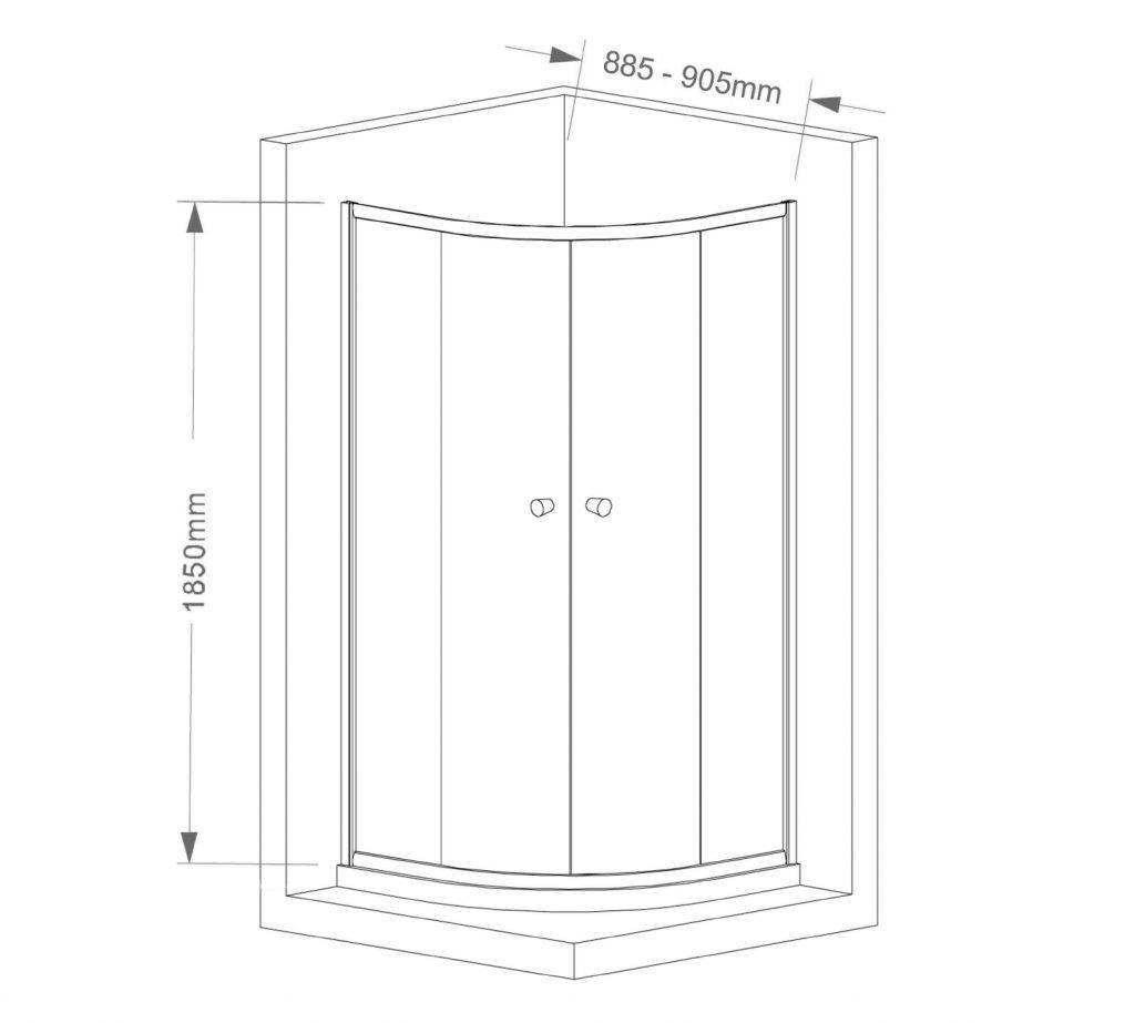 AQUALINE - ARLETA štvrťkruhová sprchová zástena 900x900mm, číre sklo (HLS900)