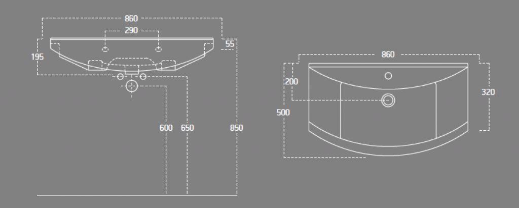 AQUALINE - ZERO nábytkové umývadlo 86x50cm (6085)