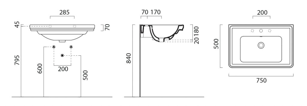 GSI - CLASSIC keramické umývadlo 75x50 cm, ExtraGlaze (8787111)