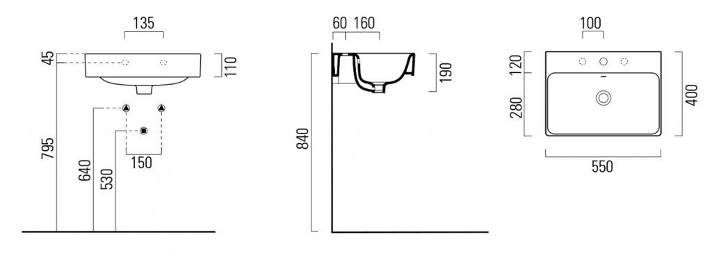 GSI - SAND keramické umývadlo 55x40 cm, ExtraGlaze (9086111)