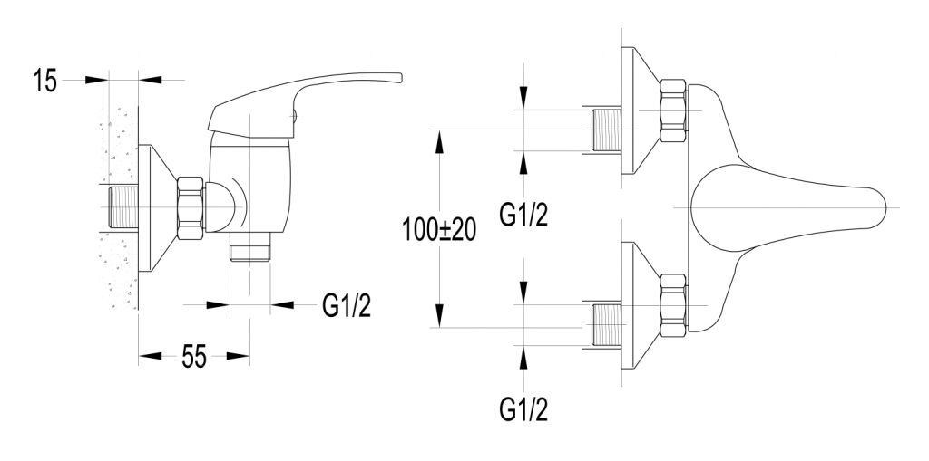 AQUALINE 35 nástenná sprchová batéria, rozteč 100mm, chróm (52156)