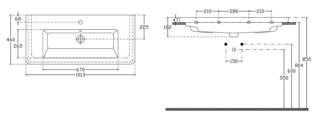 SAPHO - CITY keramické umývadlo hranaté 100x18x45cm (KE100)