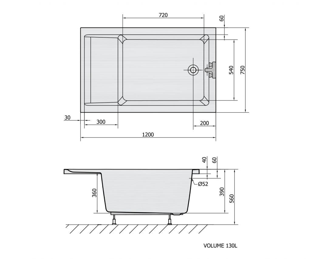 POLYSAN - JAZZ sedacia vaňa 120x75, biela (72913)