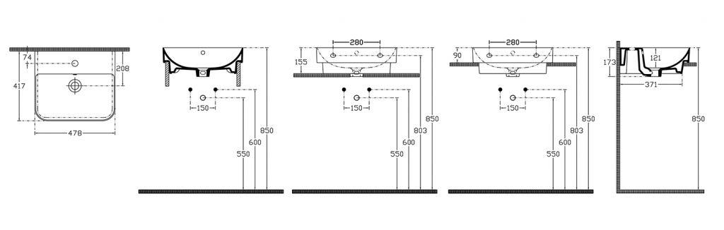 ISVEA - SOTT AQUA umývadlo 48x42 cm, zápustné do dosky (10SQ50048)
