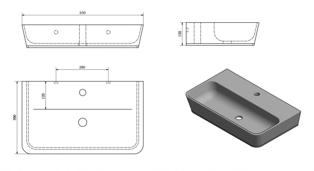 AQUALINE - KRUNO 65 umývadlo 65x39cm (ID655)