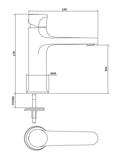 CERSANIT - Stojanková umývadlová batéria INVERTO, páková, zlatá + zlatá páčka (S951-297)