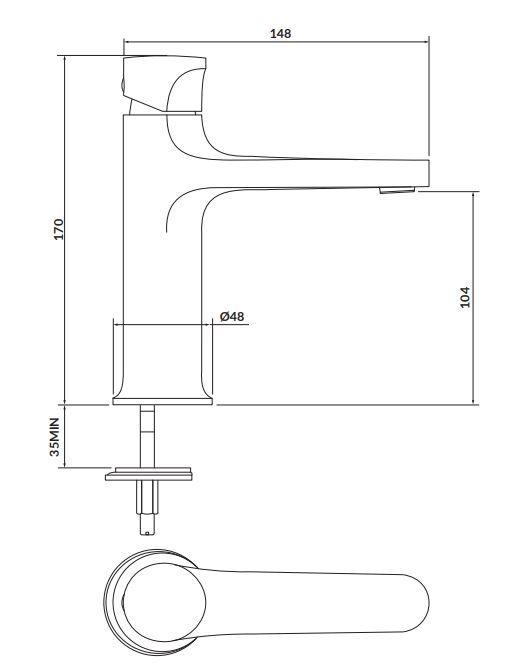 CERSANIT - Stojanková umývadlová batéria INVERTO, páková, čierna + zlatá páčka (S951-295)