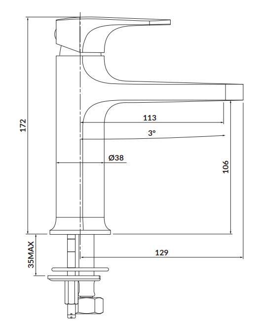CERSANIT - Stojanková umývadlová batéria INVERTO, páková, chróm + čierna páčka (S951-300)