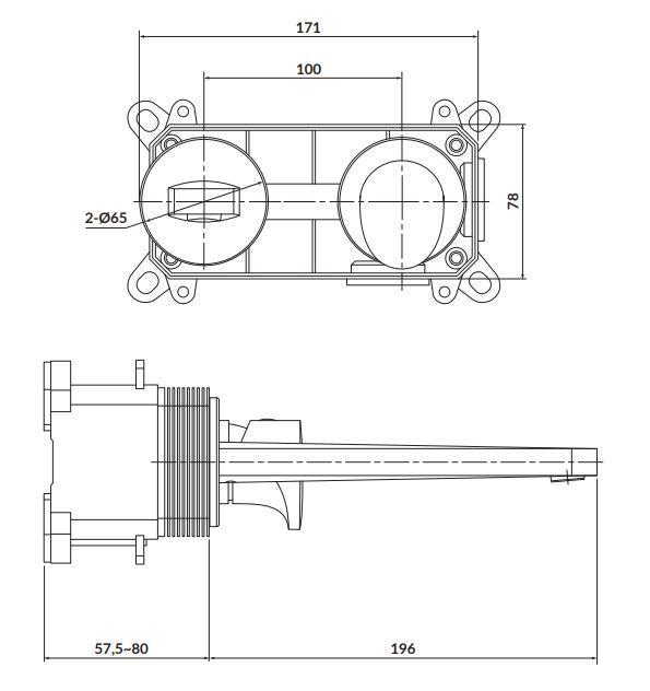 CERSANIT - Podomietková páková umývadlová batéria INVERTO, vr. montážneho telesa, chróm + čierna páčka (S951-302)