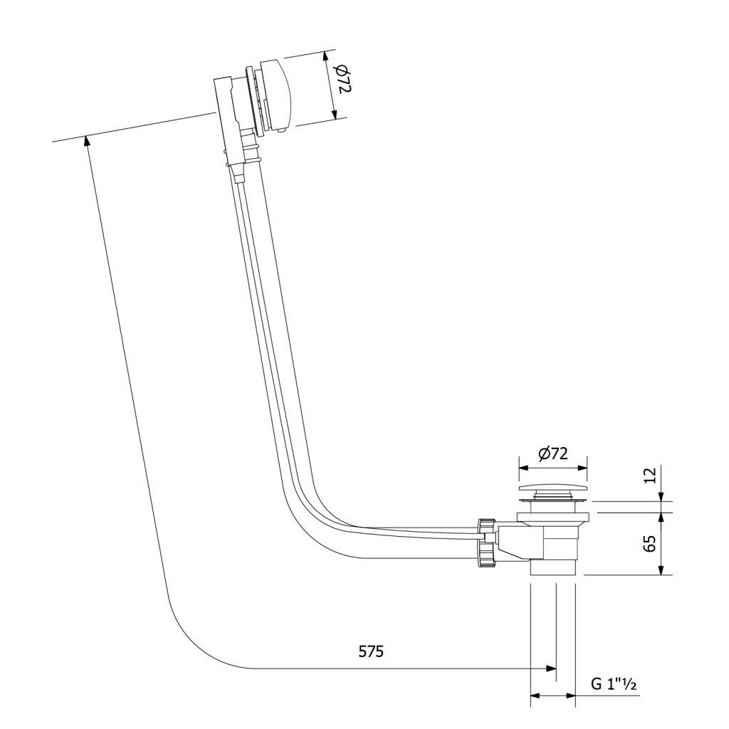 POLYSAN - Vaňová súprava s bovdenom, dĺžka 575mm, zátka 72mm, čierna matná (71680B)