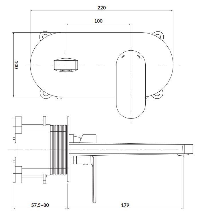 CERSANIT - Podomietková páková umývadlová batéria CREA, vrátane montážneho telesa, chróm (S951-330)