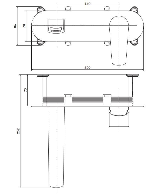 CERSANIT - Podomietková páková umývadlová batéria MODUO, vrátane montážneho telesa, chróm (S951-337)