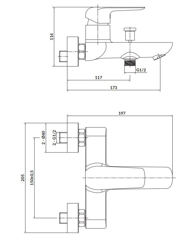 CERSANIT - Nástenná vaňová batéria CITY, páková, chróm (S951-344)