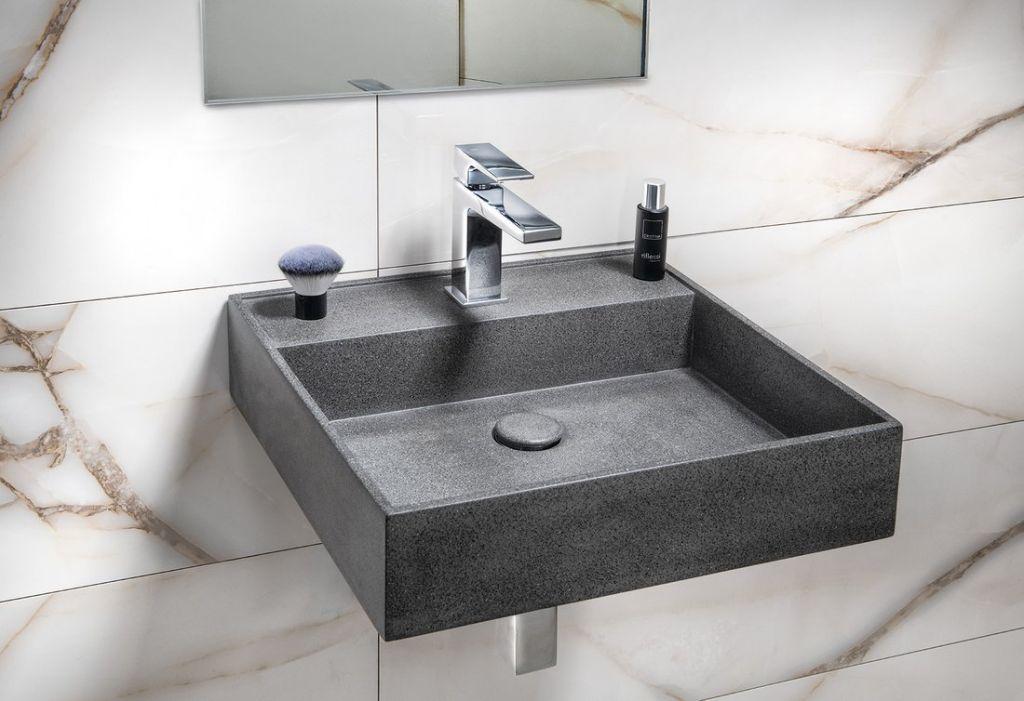 SAPHO - QUADRADO betónové umývadlo vrátane výpusti, 46x46 cm, čierny granit (AR468)