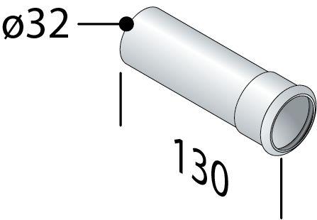Omp Tea - Predlžovacia trubka sifónu s prírubou, 32/130mm, chróm (100.130.5)
