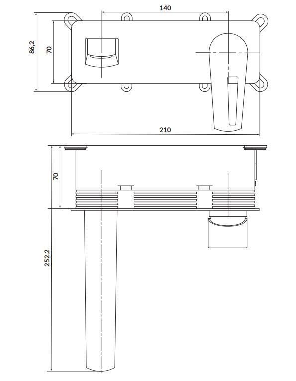 CERSANIT - Podomietková páková umývadlová batéria MILLE, vrátane montážneho telesa, s výpusťou klik klak, chróm (S951-357)