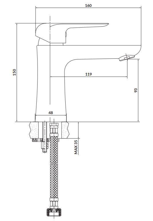 CERSANIT - Stojanková umývadlová batéria CITY, páková, chróm (S951-359)