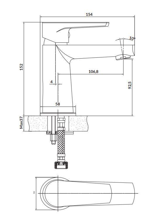 CERSANIT - Stojanková umývadlová batéria MODUO, páková, chróm (S951-362)