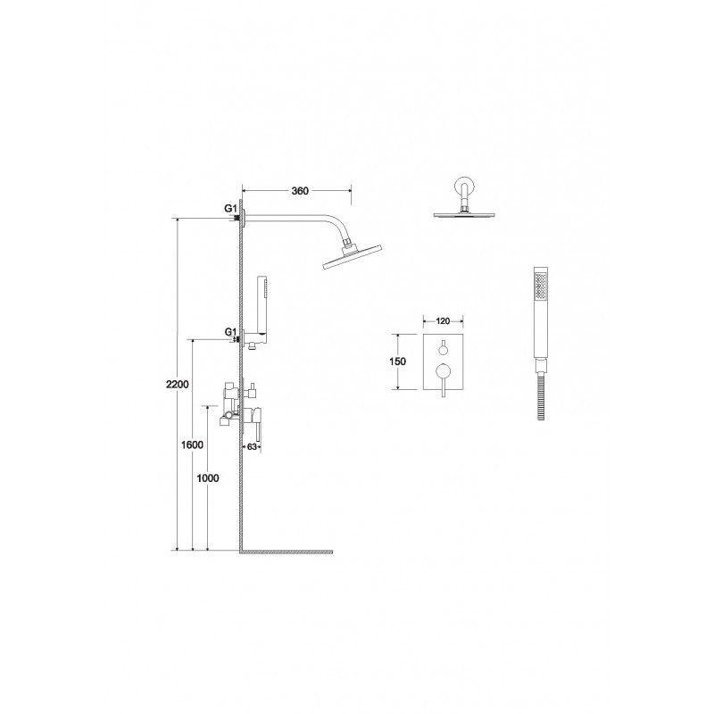 HOPA - Podomietkový sprchový set SLIM Decca / ILLUSION II Zlatá (BABPDIIIZL)
