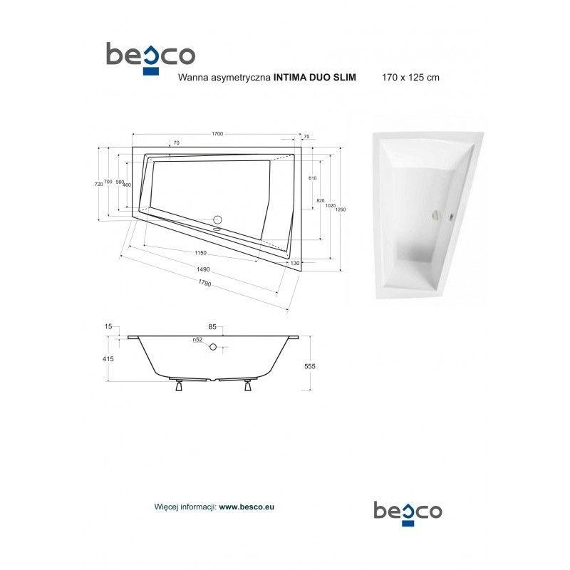 HOPA - Asymetrická vaňa INTIMA DUO SLIM - Nožičky k vani - Bez nožičiek, Rozmer vane - 170 × 125 cm, Spôsob prevedenia - Pravé (VANINTID17SLIMP)