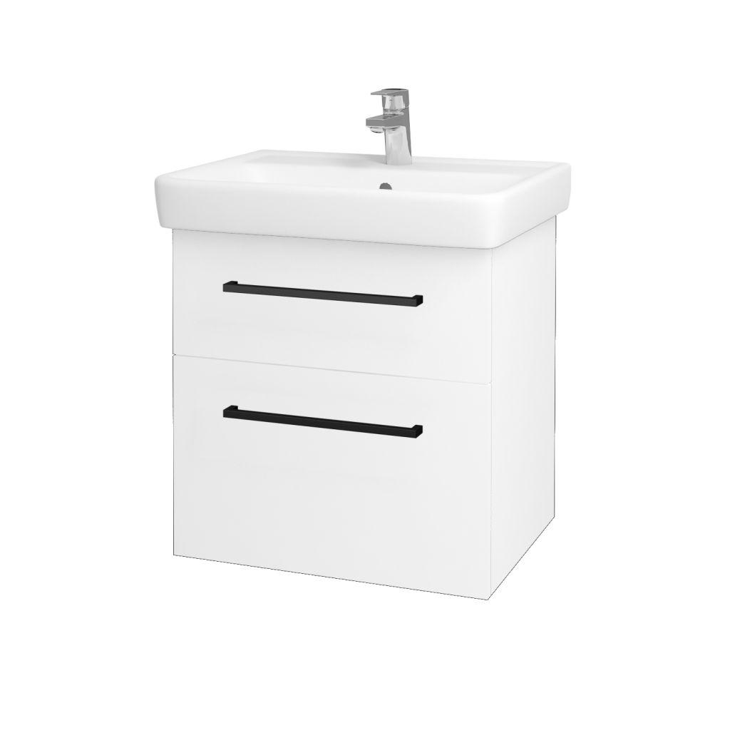 Dreja - Kúpeľňová skriňa Q MAX SZZ2 60 - N01 Bílá lesk / Úchytka T06 / L01 Bílá vysoký lesk 60117H