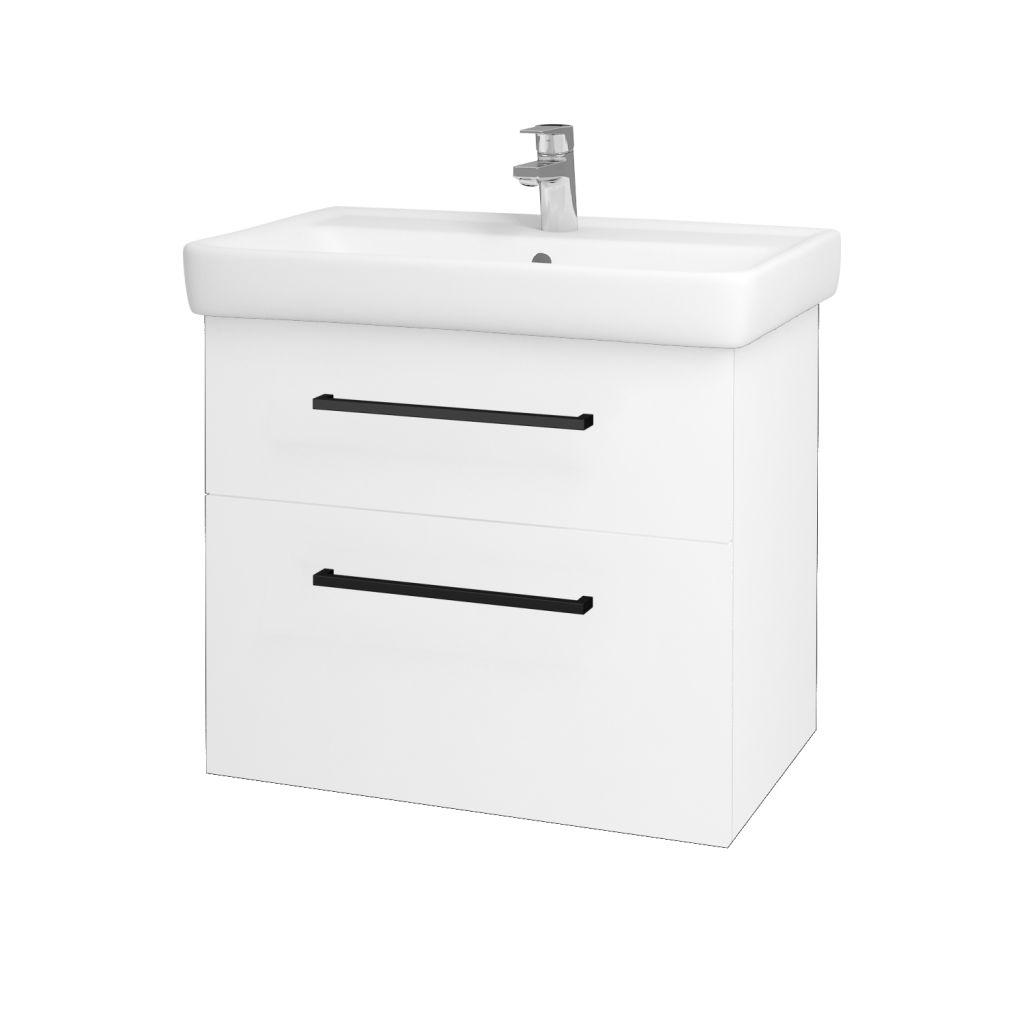 Dreja - Kúpeľňová skriňa Q MAX SZZ2 70 - N01 Bílá lesk / Úchytka T06 / L01 Bílá vysoký lesk 60155H
