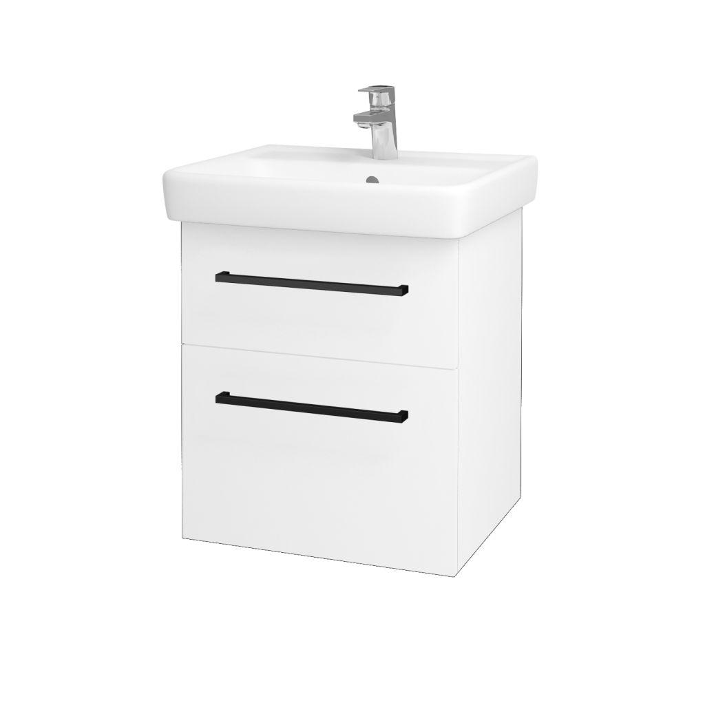 Dreja - Kúpeľňová skriňa Q MAX SZZ2 55 - N01 Bílá lesk / Úchytka T06 / L01 Bílá vysoký lesk 61251H