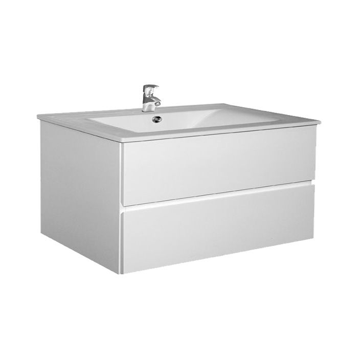 A-Interiéry - Kúpeľňová skrinka závesná zásuvková s keramickým umývadlom Brunette 100 brunette 100